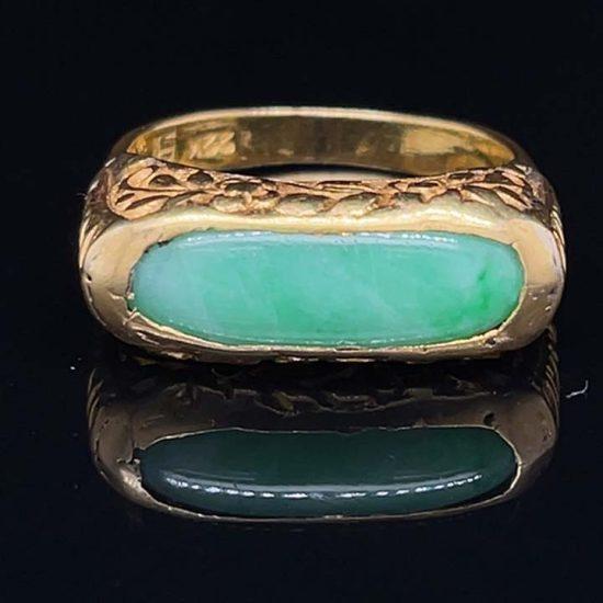 Jade Saddle Ring In 22 Kt Gold 5