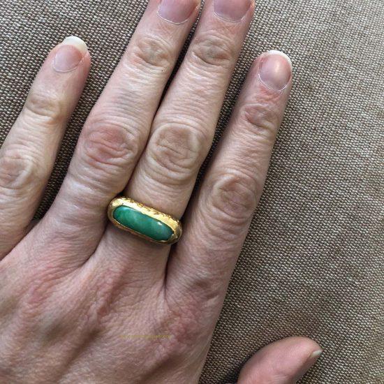 Jade Saddle Ring In 22 Kt Gold 7