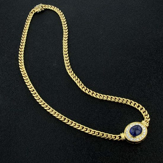 Cabochon Cute Sapphire And Diamond Necklace 6