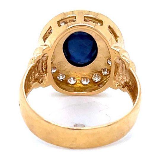 Cabochon Cut Blue Sapphire And Diamond Ring 8