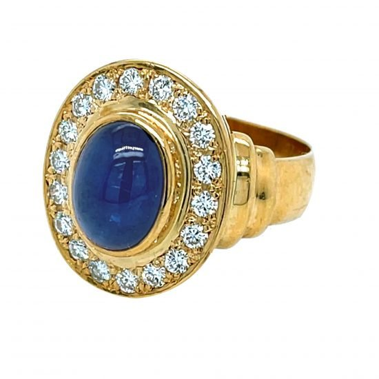 Cabochon Cut Blue Sapphire And Diamond Ring 1