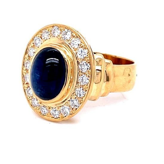 Cabochon Cut Blue Sapphire And Diamond Ring 7