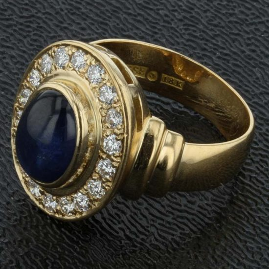 Cabochon Cut Blue Sapphire And Diamond Ring 4