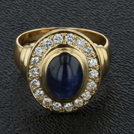 Cabochon Cut Blue Sapphire And Diamond Ring 5