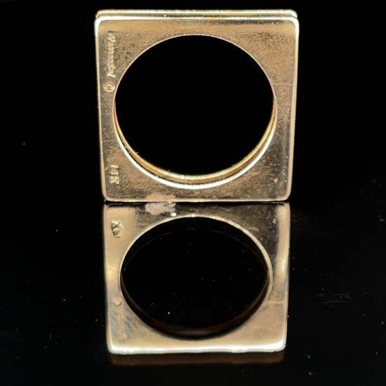 Yellow Gold Marraccini Square Shaped Diamond Ring 4