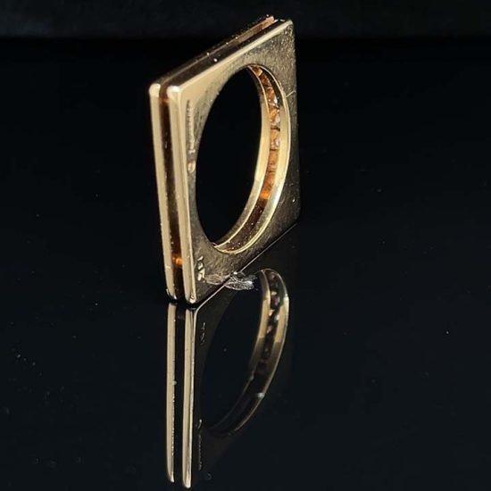 Yellow Gold Marraccini Square Shaped Diamond Ring 3