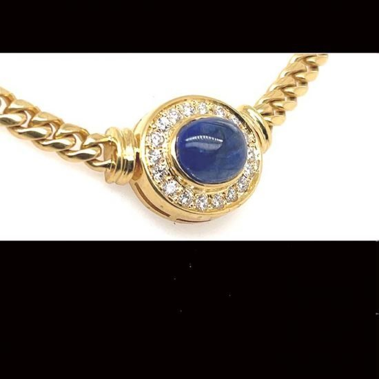 Cabochon Cute Sapphire And Diamond Necklace 1