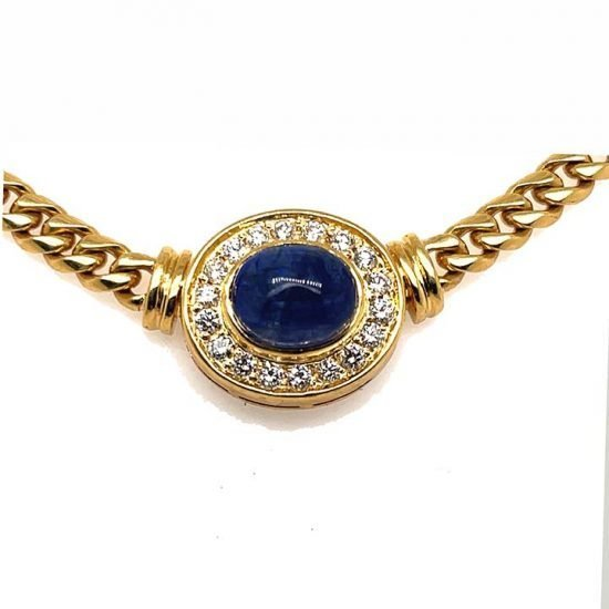 Cabochon Cute Sapphire And Diamond Necklace 8