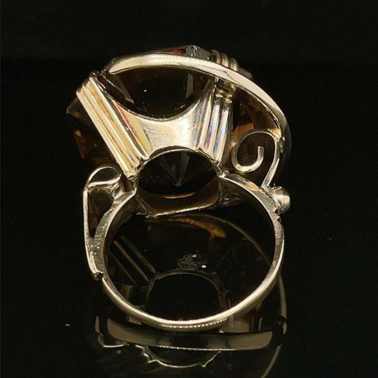 Hexagonal Golden Yellow Citrine Ring 5