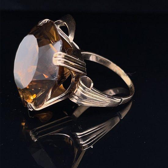 Hexagonal Golden Yellow Citrine Ring 3