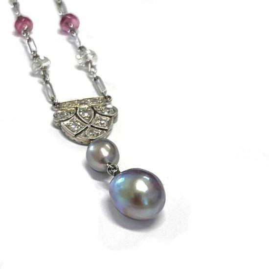 Natural Pearl, Diamond &Amp; Pink Tourmaline Lariat 2