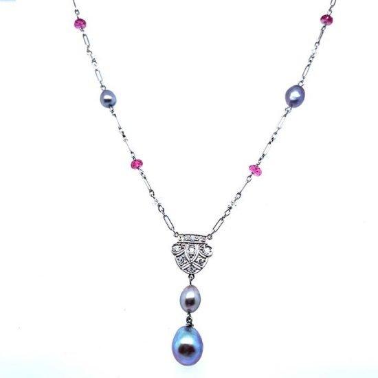 Natural Pearl, Diamond &Amp; Pink Tourmaline Lariat 1