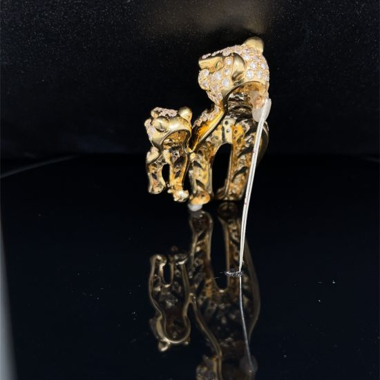 Onyx And Diamond Tiger Brooch 2