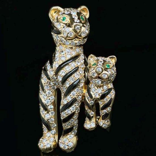 Onyx And Diamond Tiger Brooch 6