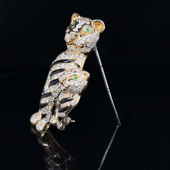 Onyx And Diamond Tiger Brooch 3