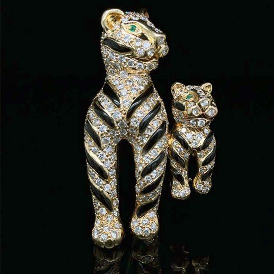 Onyx And Diamond Tiger Brooch 5