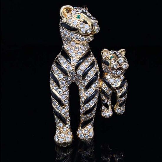 Onyx And Diamond Tiger Brooch 1