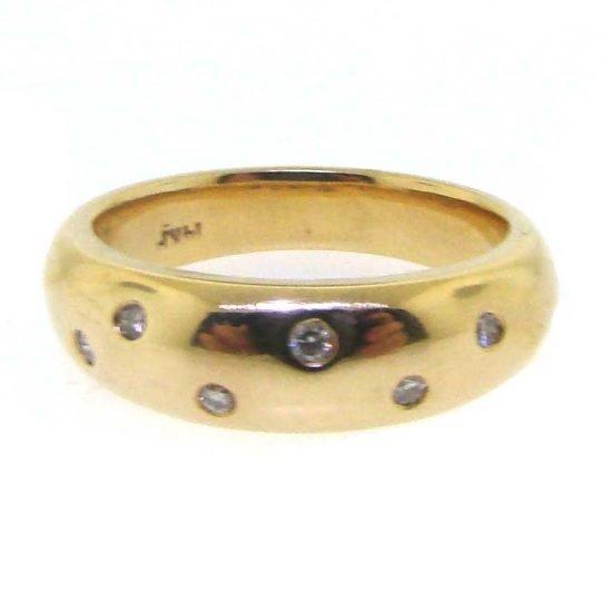 Yellow Gold Flush Set Diamond Dome Ring 1