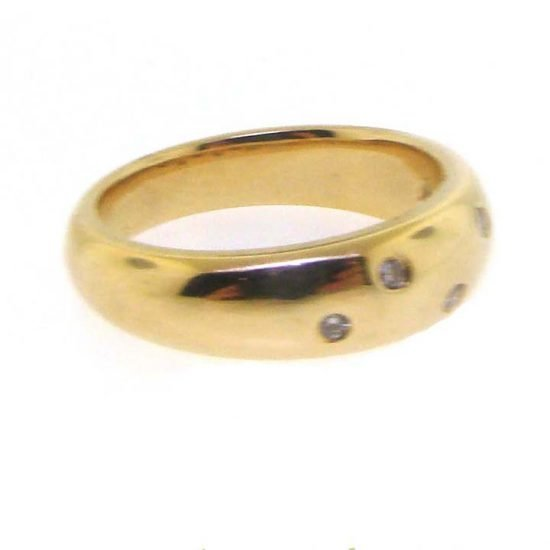 Yellow Gold Flush Set Diamond Dome Ring 4