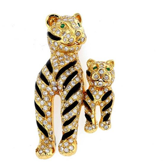 Onyx And Diamond Tiger Brooch 4