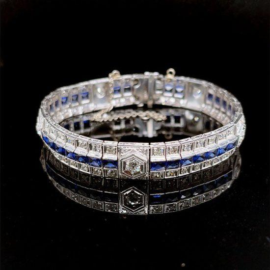 Art Deco Platinum Sapphire And Diamond Bracelet 1