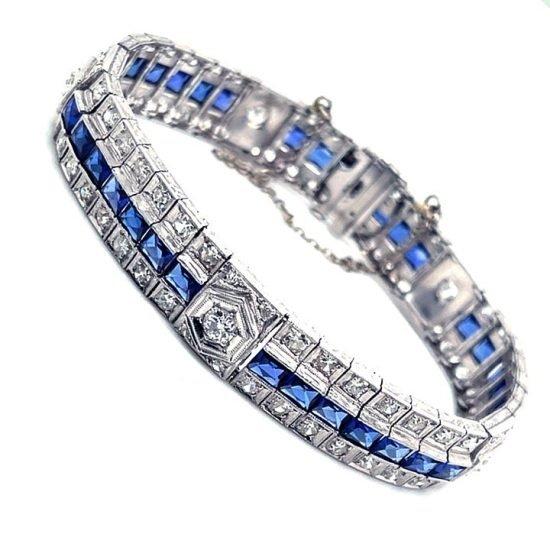 Art Deco Platinum Sapphire And Diamond Bracelet 2