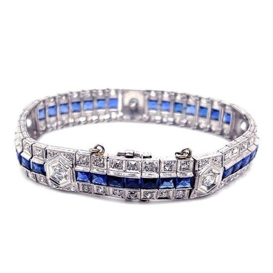 Art Deco Platinum Sapphire And Diamond Bracelet 3
