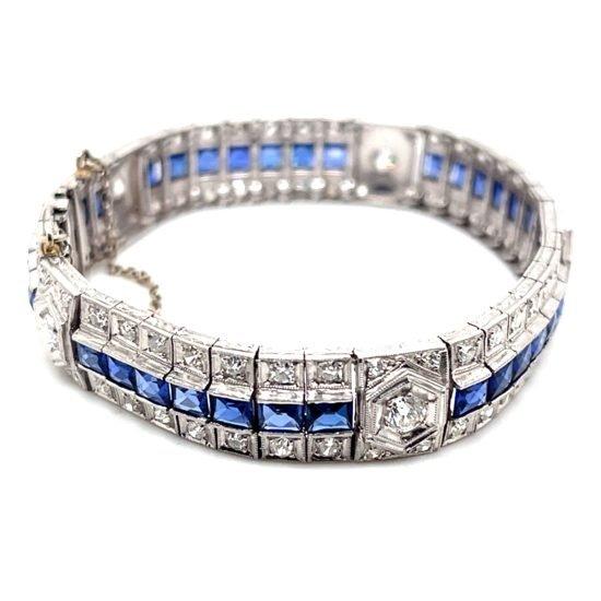 Art Deco Platinum Sapphire And Diamond Bracelet 7