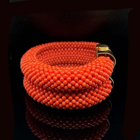 Coral Woven Cuff Bracelet 2