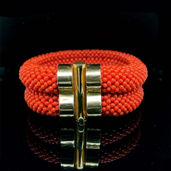 Coral Woven Cuff Bracelet 4