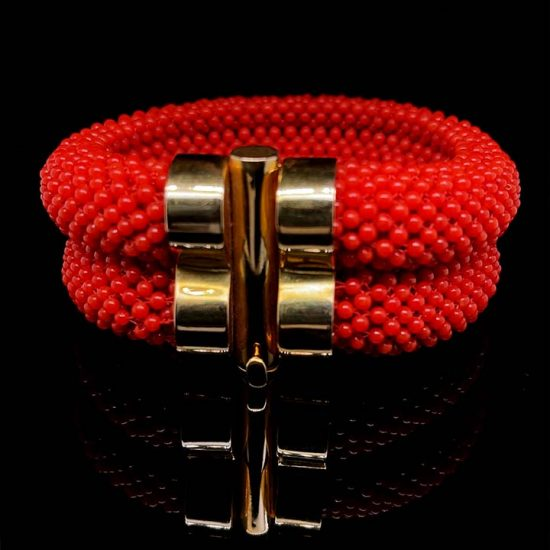 Coral Woven Cuff Bracelet 1