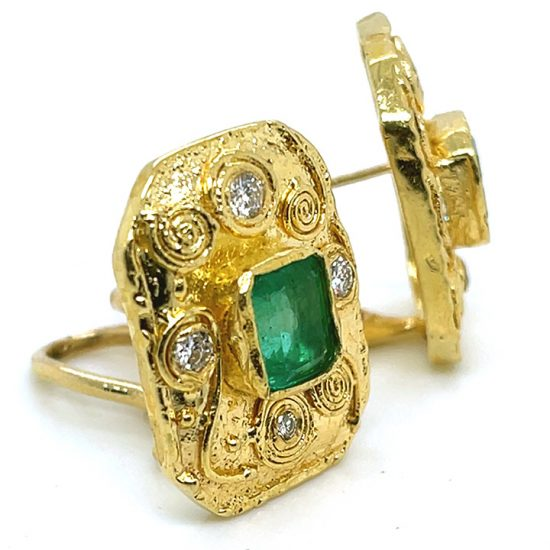 Emerald And Diamond Yellow Gold Ear Clips 7