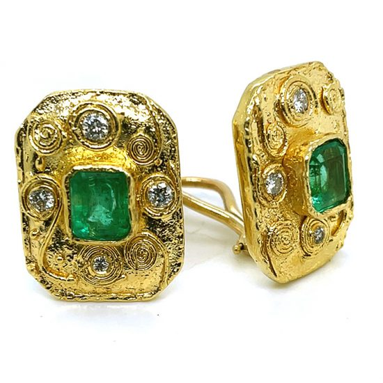 Emerald And Diamond Yellow Gold Ear Clips 1