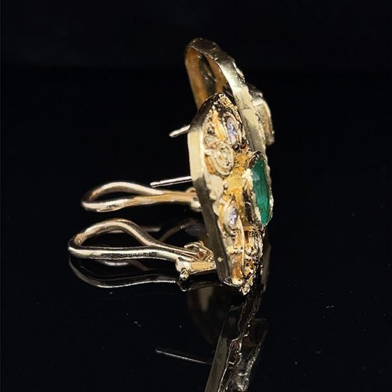 Emerald And Diamond Yellow Gold Ear Clips 6