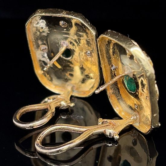 Emerald And Diamond Yellow Gold Ear Clips 5