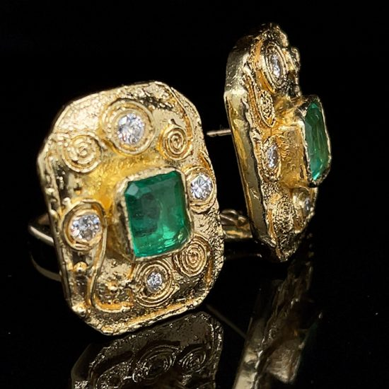 Emerald And Diamond Yellow Gold Ear Clips 3