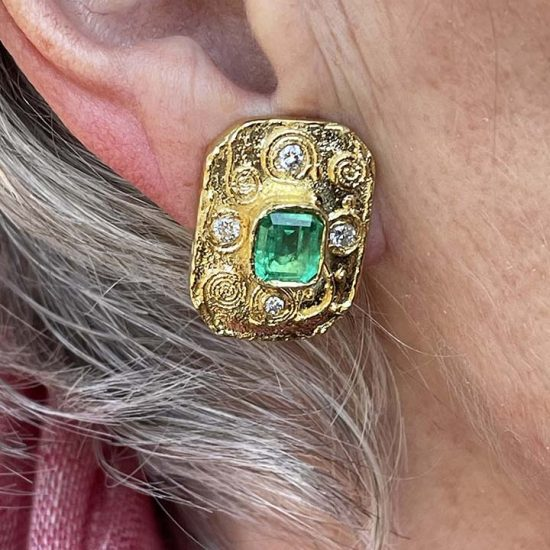 Emerald And Diamond Yellow Gold Ear Clips 8