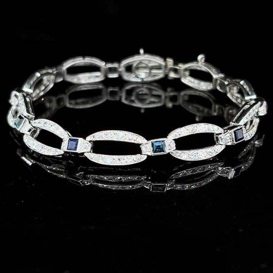 French Art Deco Platinum Diamond And Natural Sapphire Bracelet 1