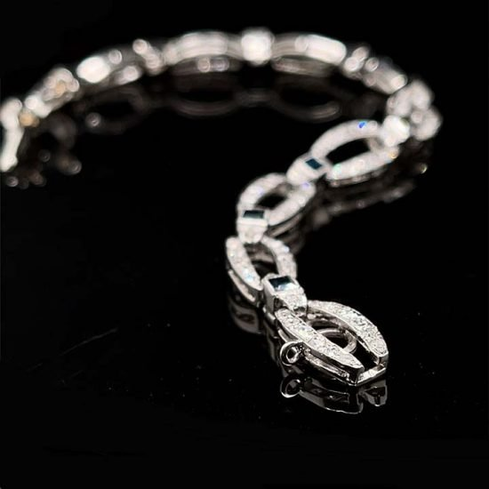 French Art Deco Platinum Diamond And Natural Sapphire Bracelet 2