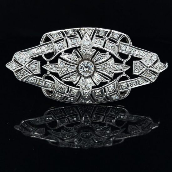 Platinum Edwardian Filigree Floral Pin 1