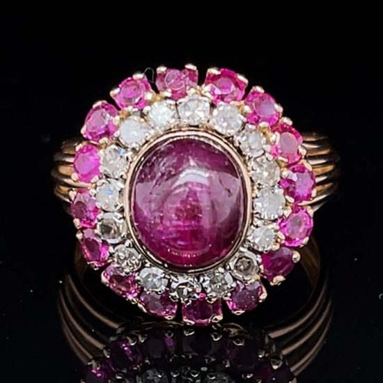 Ruby And Diamond Retro Cluster Ring 1