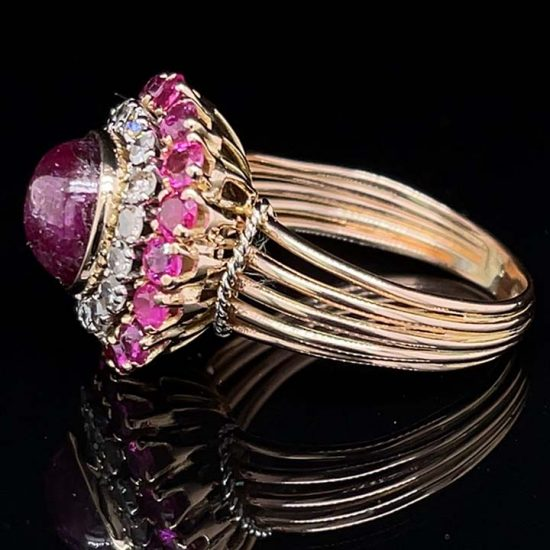Ruby And Diamond Retro Cluster Ring 4