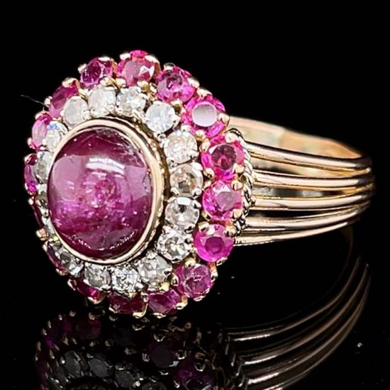 Ruby And Diamond Retro Cluster Ring 2