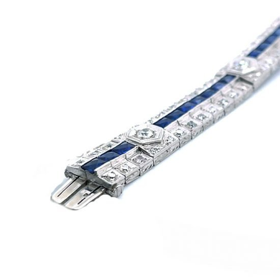 Art Deco Platinum Sapphire And Diamond Bracelet 5