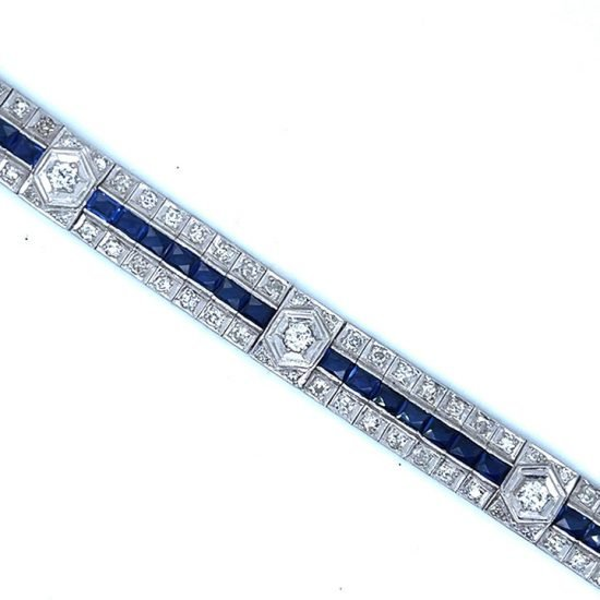Art Deco Platinum Sapphire And Diamond Bracelet 4