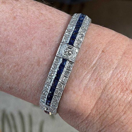 Art Deco Platinum Sapphire And Diamond Bracelet 8