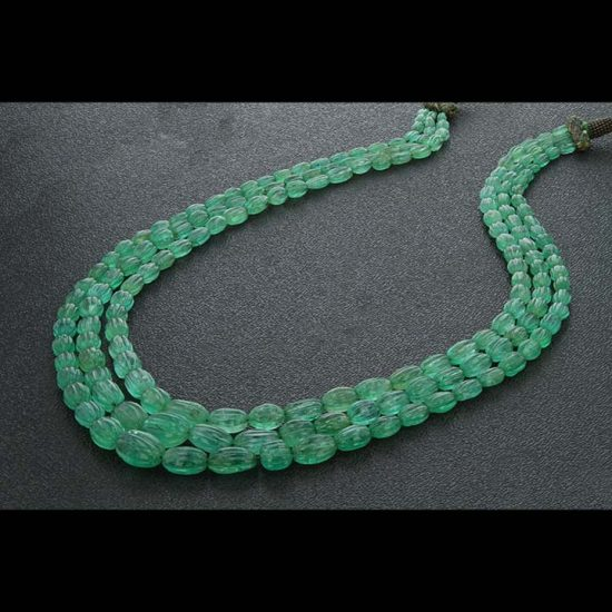 Carved Emerald 3 Row Necklace 1