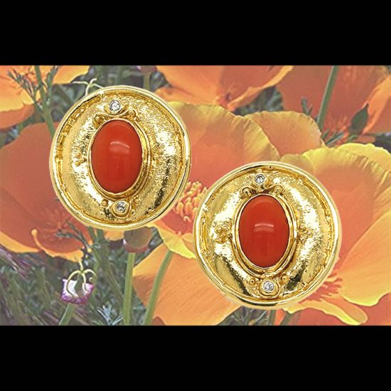 Coral And Diamond Button Clip Earrings 6