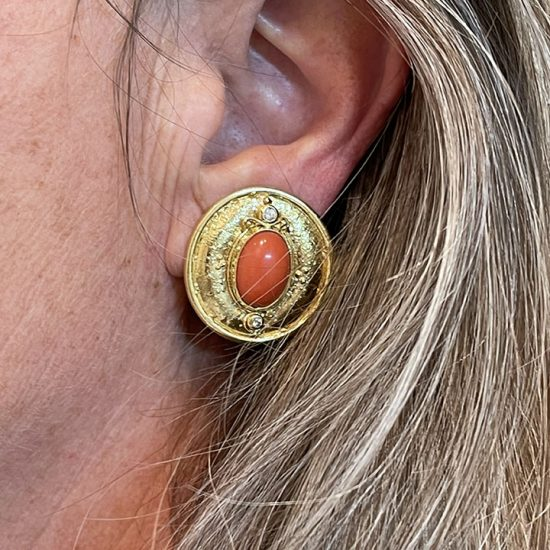 Coral And Diamond Button Clip Earrings 5