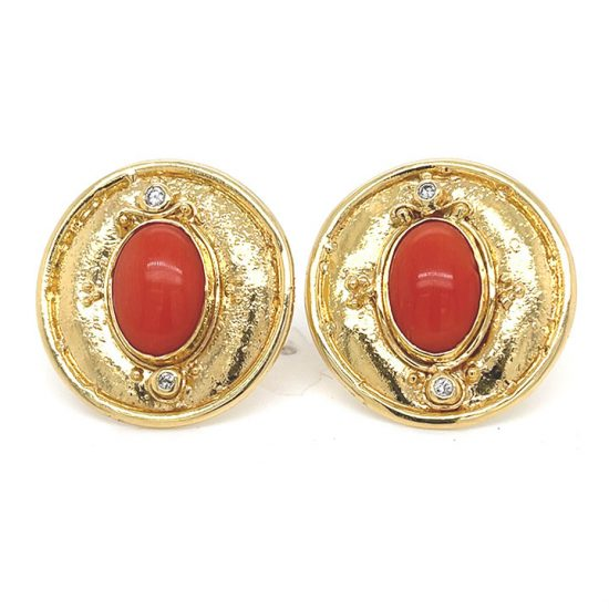 Coral And Diamond Button Clip Earrings 1